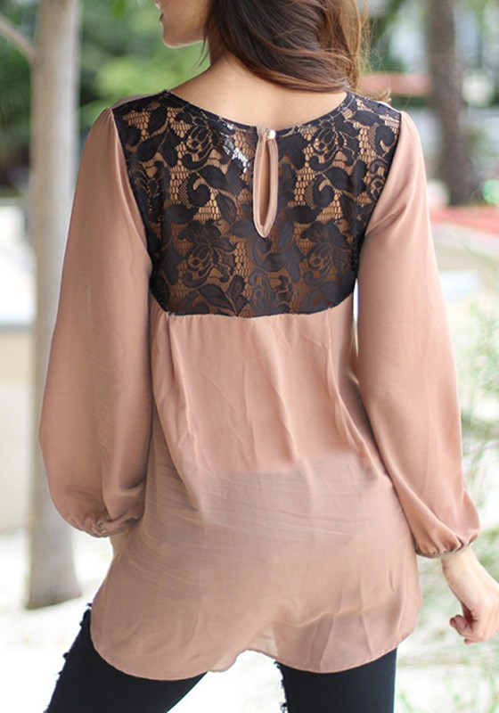 Brown patchwork back lace round neck three quarter length for Three quarter length shirt