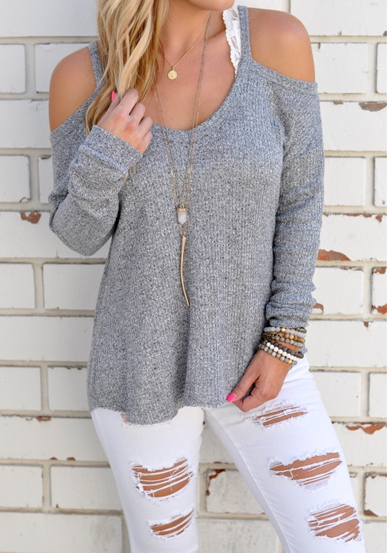 eb2631b1c T-shirt découpé épaule dénudée irrégulière col rond manches longues  occasionnel femme gris