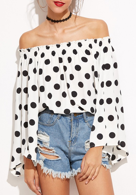 30297a9df6 White Polka Dot Draped Boat Neck Off-Shoulder Flare Sleeve Oversized Cute T- Shirt - T-Shirts - Tops