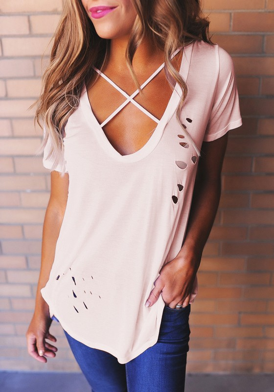 c8d4a26283 Pink Plain Cut Out Cleavage Ripped Destroyed Deep V-neck Short Sleeve T- Shirt
