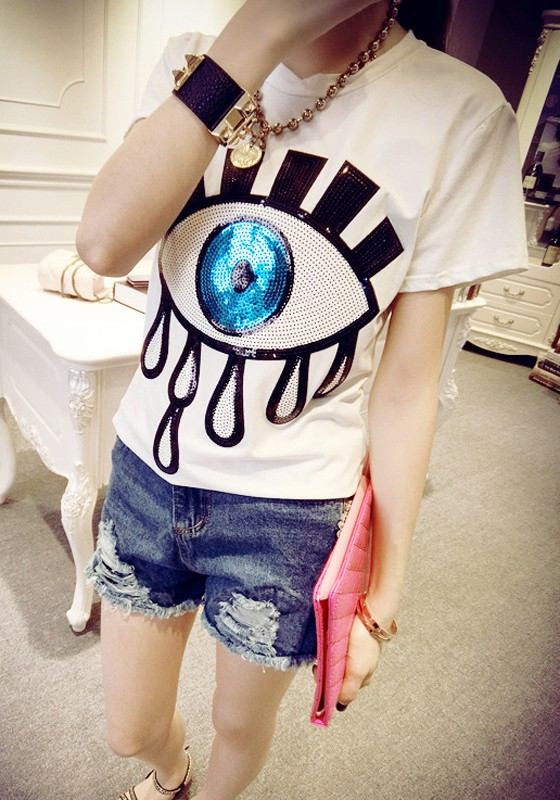 8e07aa89c6 White-Blue Patchwork Eyes Print Sequin Plus Size Short Sleeve T-Shirt - T- Shirts - Tops