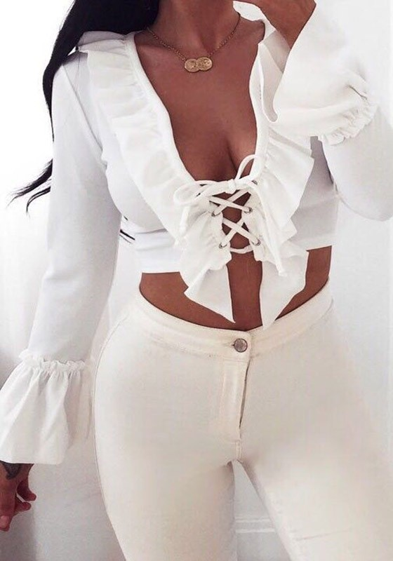 White Ruffle Lace Up Deep V Neck Flare Sleeve Club Crop T