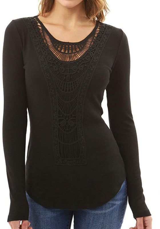 Black Cut Out Lace Long Sleeve Casual T Shirt T Shirts