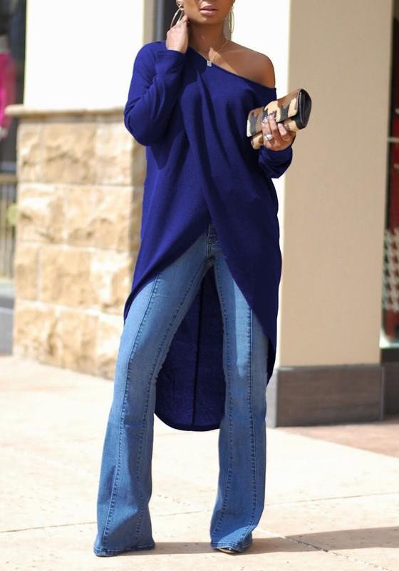b7d4d9424524f Navy Blue Irregular Swallowtail One Shoulder High-low Long Sleeve Oversized  Casual T-Shirt - T-Shirts - Tops