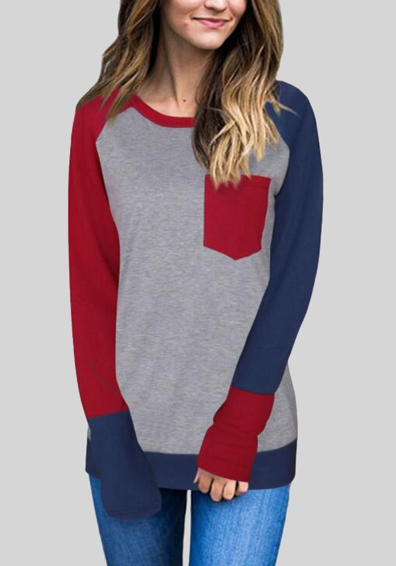 aeea1d06f84058 Wine Red Patchwork Color Block Pockets Casual Baseball Plus Size Long T- Shirt