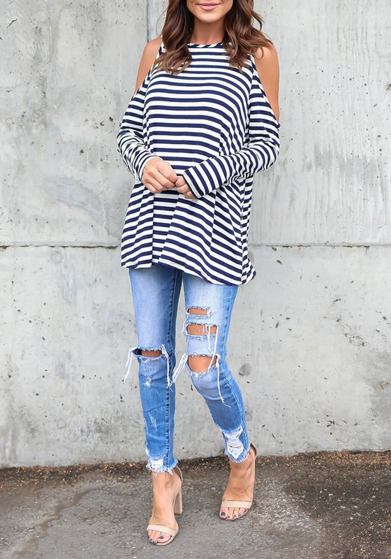 0ef5687423911c White-Blue Striped Cut Out Off Shoulder Long Sleeve Casual T-Shirt -  T-Shirts - Tops