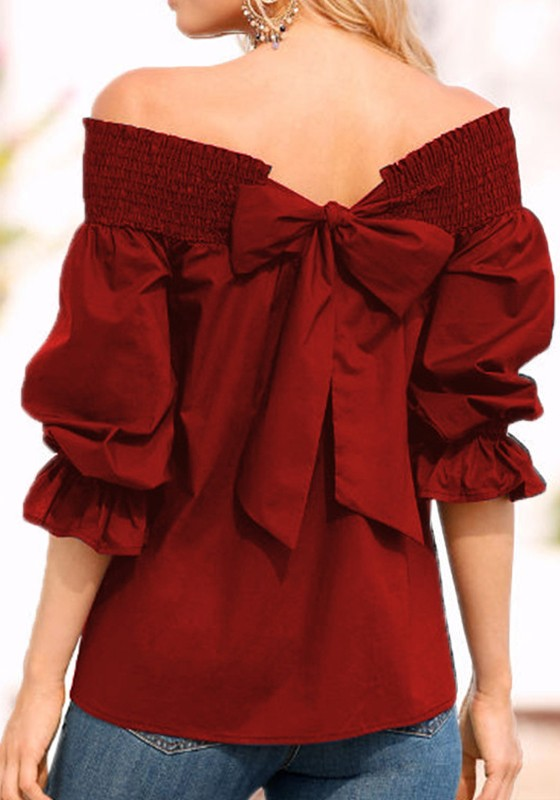 cb1848b1dd2 Burgundy Tie Back Bow Lace Up Off Shoulder Backless Long Sleeve Casual  Going out Cute T-Shirt - T-Shirts - Tops