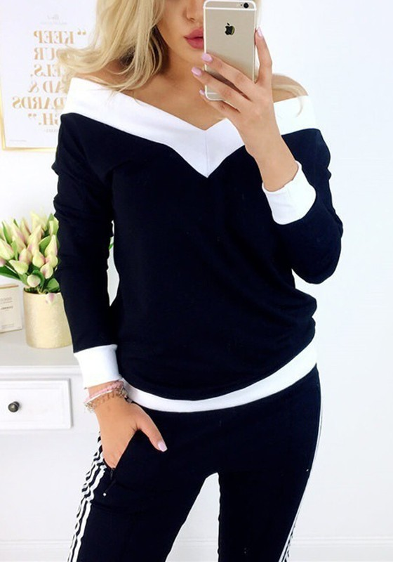 8a427247a7716 Black Off Shoulder V-neck Long Sleeve Slouchy Casual T-Shirt - T-Shirts -  Tops