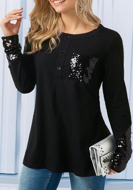 acdb7f35a5 Maglietta tasche paillettes con bottoni glitter casuale neri