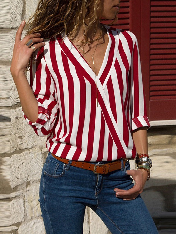 ray tee shirt mariniere v cou manches longues mode femme blouse rouge et blanc t shirts hauts. Black Bedroom Furniture Sets. Home Design Ideas