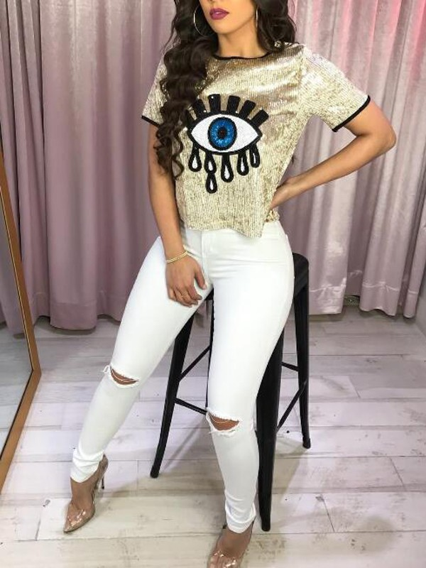 96a8316618a Golden Big Eyes Sequin Glitter Short Sleeve Sparkly Clubwear NYE Casual T- shirt - T-Shirts - Tops