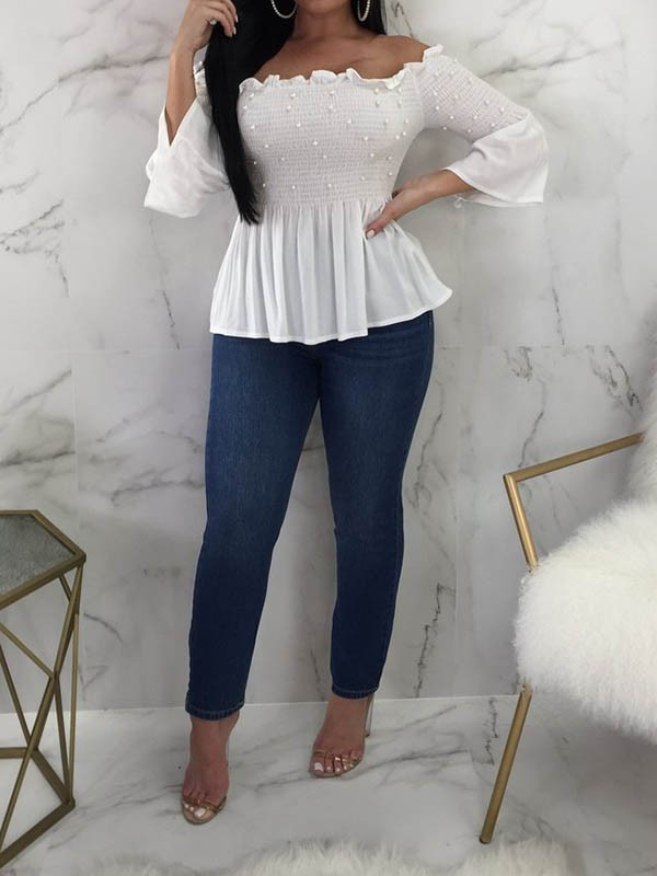 c12e6eee5549d2 White Pearl Ruffle Off Shoulder Flare Sleeve Sweet T-Shirt - T-Shirts - Tops