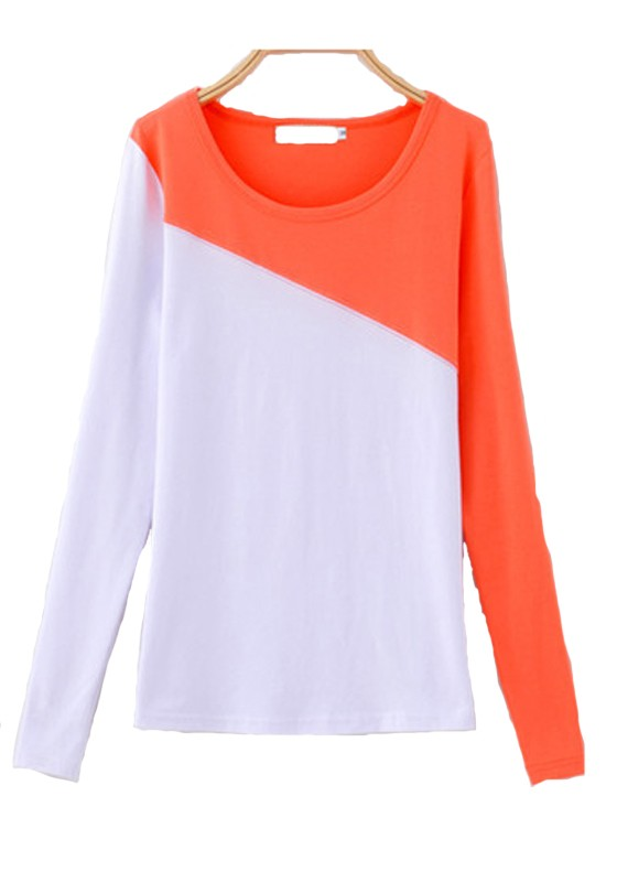 Orange-White Color Block Patchwork Wrap Cotton T-Shirt - T-Shirts ...