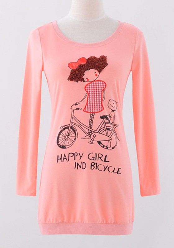 Pink Cartoon Print Long Sleeve Wrap Cotton T-Shirt - T-Shirts - Tops