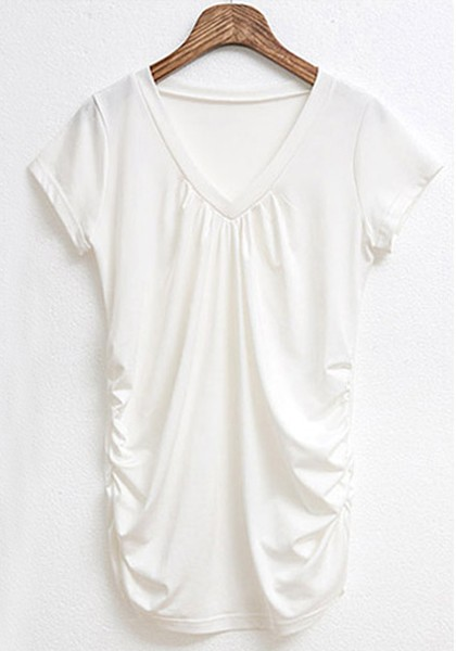 white ruffle v neck short sleeve silk t shirt t shirts