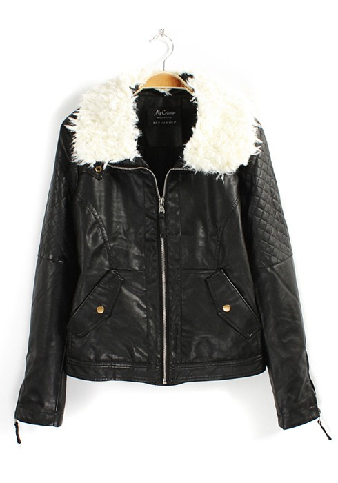 Black Leather Jacket With White Fur Collar - My Jacket