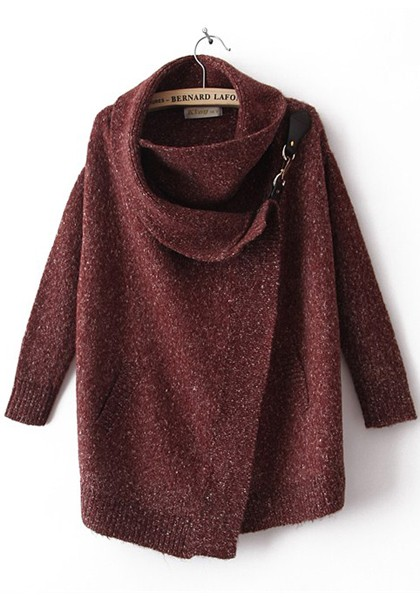 Dark Red Draped Collar Bat Sleeve Wool Trench Coat - Outerwears - Tops