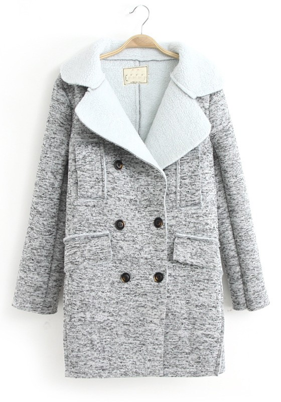 Light Grey Hooded Pockets Tailored Collar Wool Coat - Outerwears ...