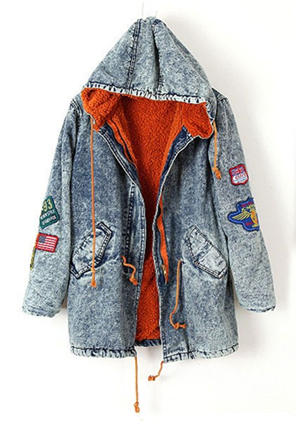 Light Snow Badge Drawstring Hooded Denim Parka Coat - Outerwears ...