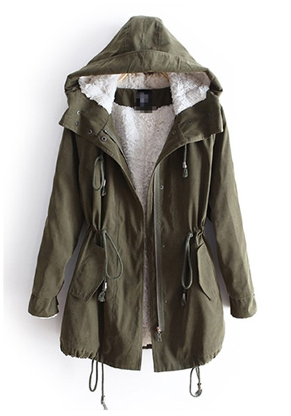 Army Green Drawstring Belt Hooded Cotton Parka Coat - Outerwears