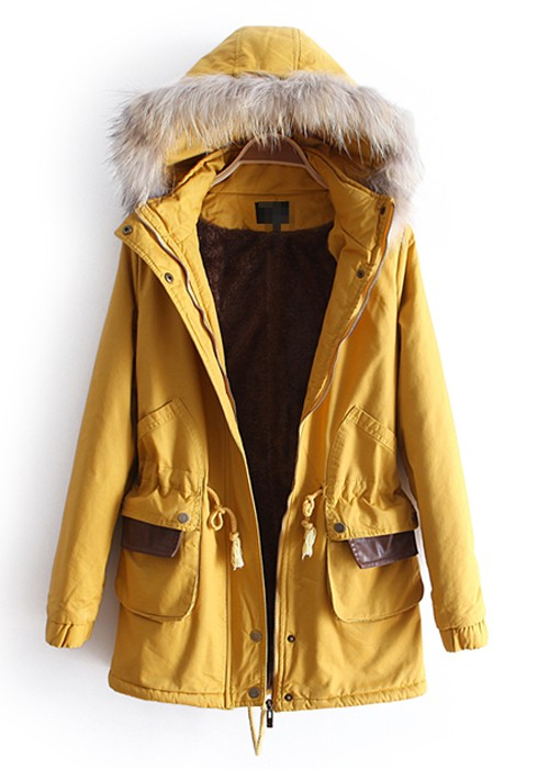 Yellow Fur Hooded Snap Fastener Cotton Parka Coat - Outerwears - Tops