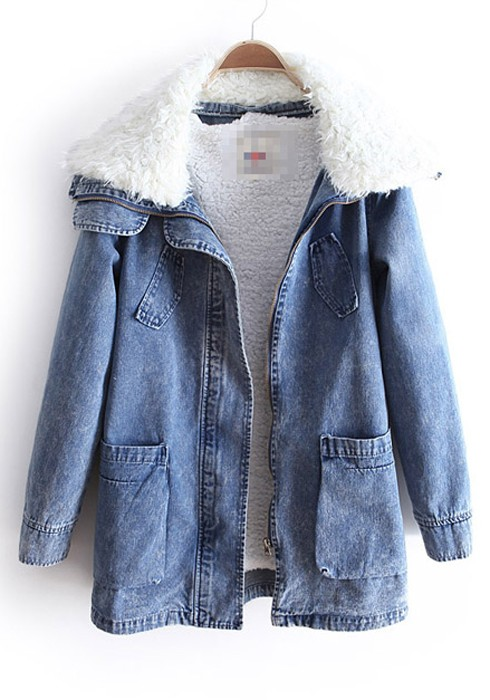 Blue Lambs Fleece Lapel Pockets Denim Parka Coat - Outerwears - Tops