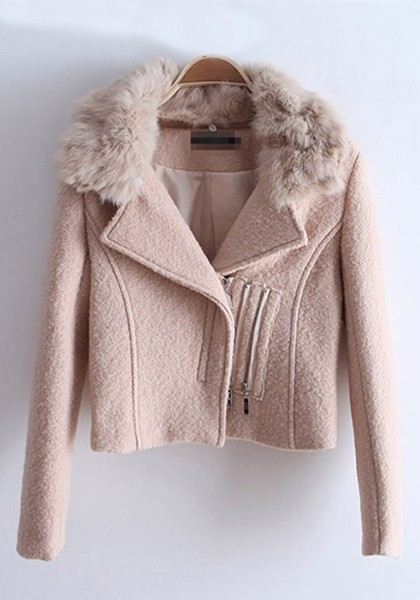 Light Pink Zipper Fur Lapel Wool Coat - Outerwears - Tops