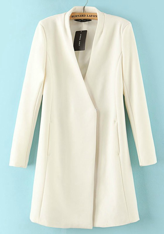 White V-neck Single Button Cotton Blend Trench Coat - Outerwears