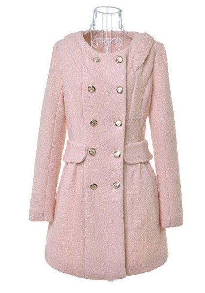 Light Pink Buttond Double Breasted Wool Coat - Outerwears - Tops