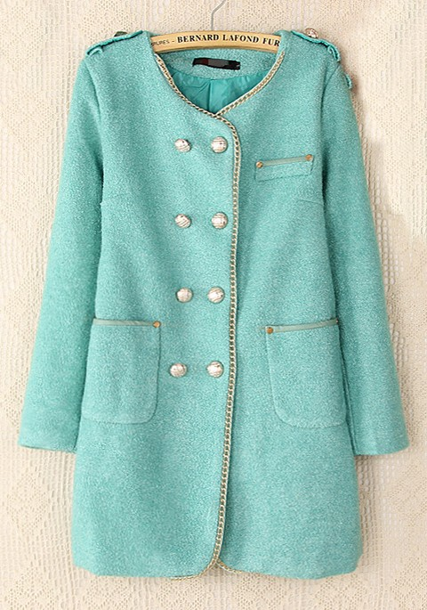 Light Blue Plain Double Breasted Wool Wool Coat - Outerwears - Tops
