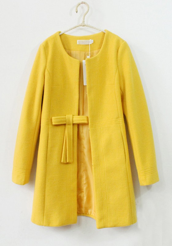 Yellow Plain Bow Collarless Thick Dacron Wool Coat ...