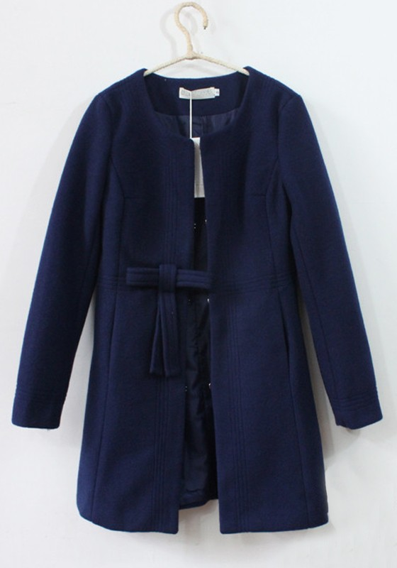 Navy Blue Plain Bow Thick Dacron Wool Coat - Outerwears - Tops