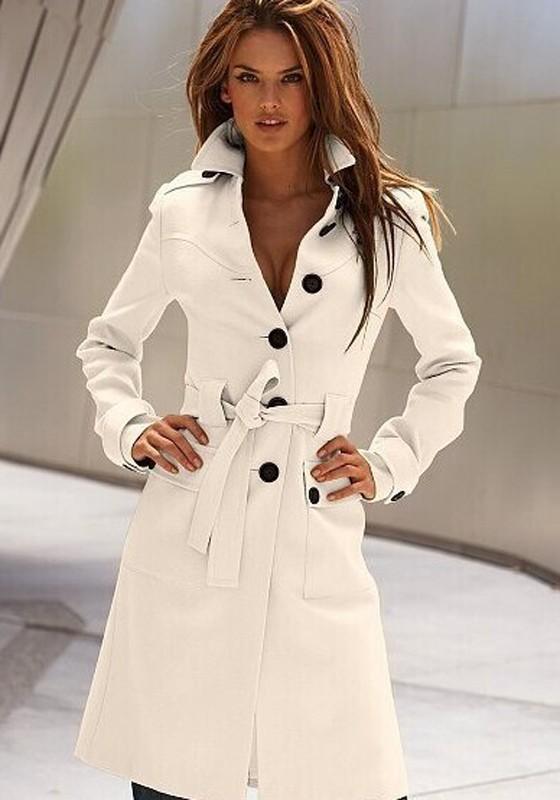 aec5521af6ff Manteau de bureau avec ceinture boutonnage manches longues trench-coat femme  mode blanc