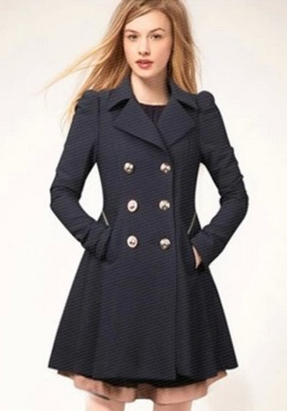 Navy Blue Plain Double Breasted Military Peplum Peacoat Trench ...