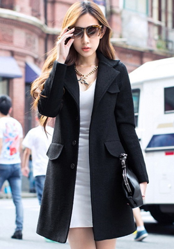 Black Plain Pockets Tailored Collar Slim Wool Coat - Outerwears - Tops