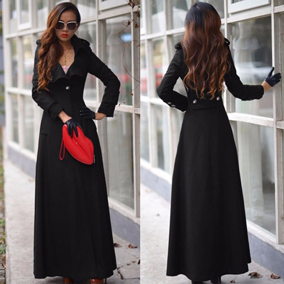Black Full Length Turn Down Collar Military Extra Long Wool Trench ...