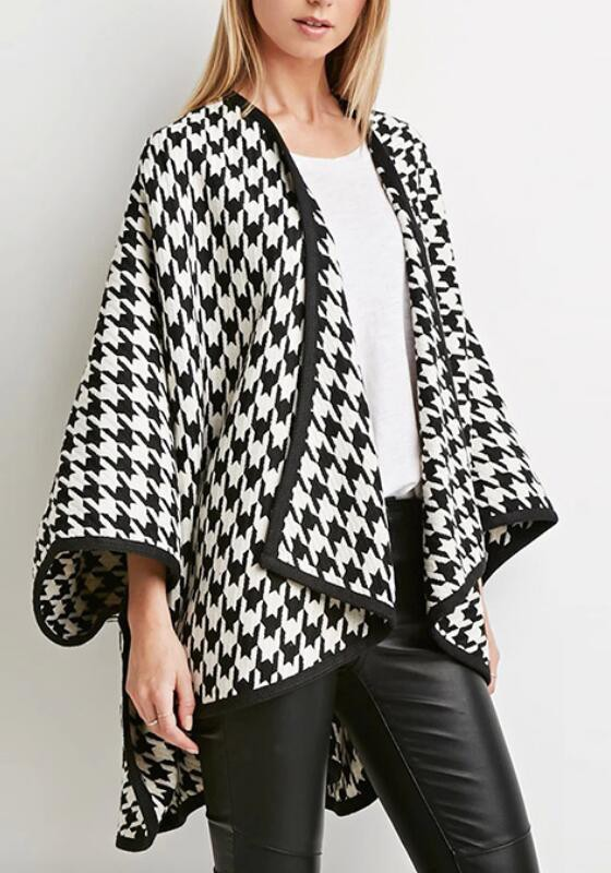Black Plaid White Irregular High-low Dolman Sleeve Casual Trench ...