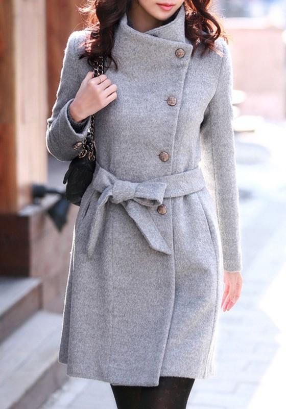 grauer taschen mit g rtel einreihig langarm elegante schlank mantel damen trenchcoat wollmantel. Black Bedroom Furniture Sets. Home Design Ideas