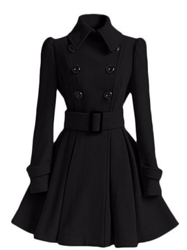 wholesale dealer 2f3cb 8bbb5 Schwarzer Langarm Stehkragen Mit Gürtel Peplum WollMantel Winter  Ausgestellter Mantel Damen Mode