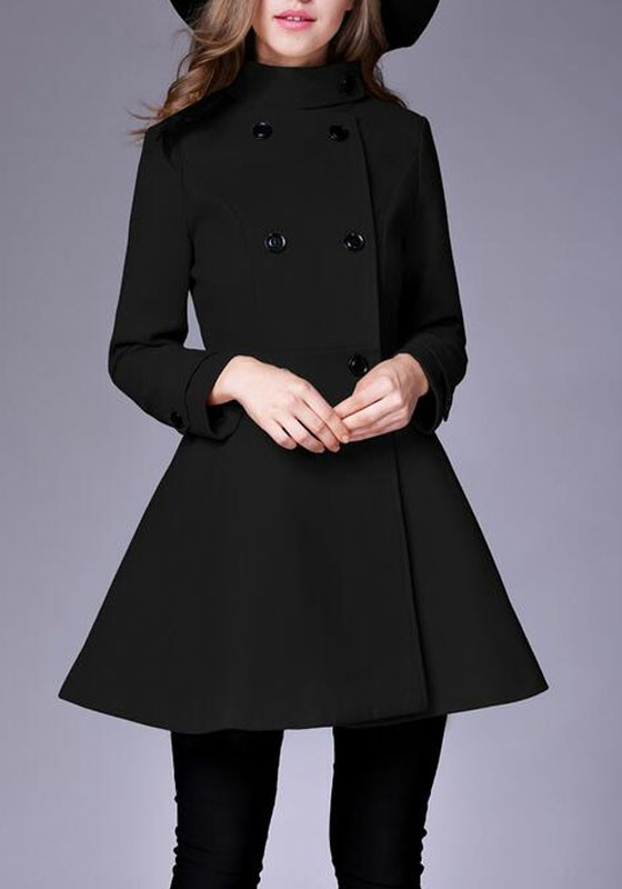 special section amazing price wide range Black Plain Pockets Double Breasted Band Collar Peplum Peacoat Trench Coat