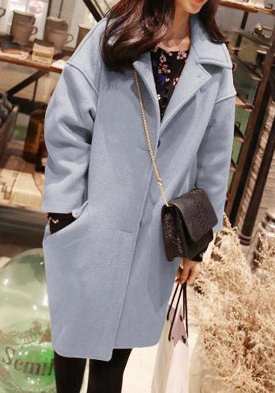 detailed look 9ef33 07911 Hellblau Taschen Knöpfen Umlegekragen Oversize Mode Wollmantel Wintermantel  Damen