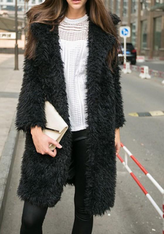 pretty nice 0fa86 295b1 Cappotto pelliccia ecologica collare couverture manica lunga moda nero