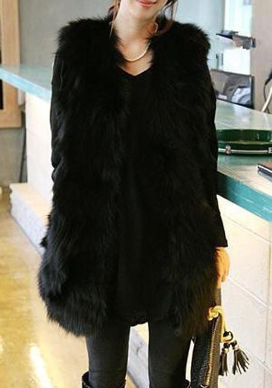 Mi long manteau en fourrure sans manches femme mode hiver veste noir