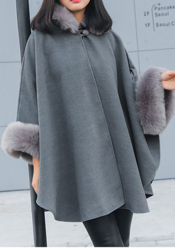 Graue Winter Cape Parka Jacke Fledermaus Batwing Warmer Wolle