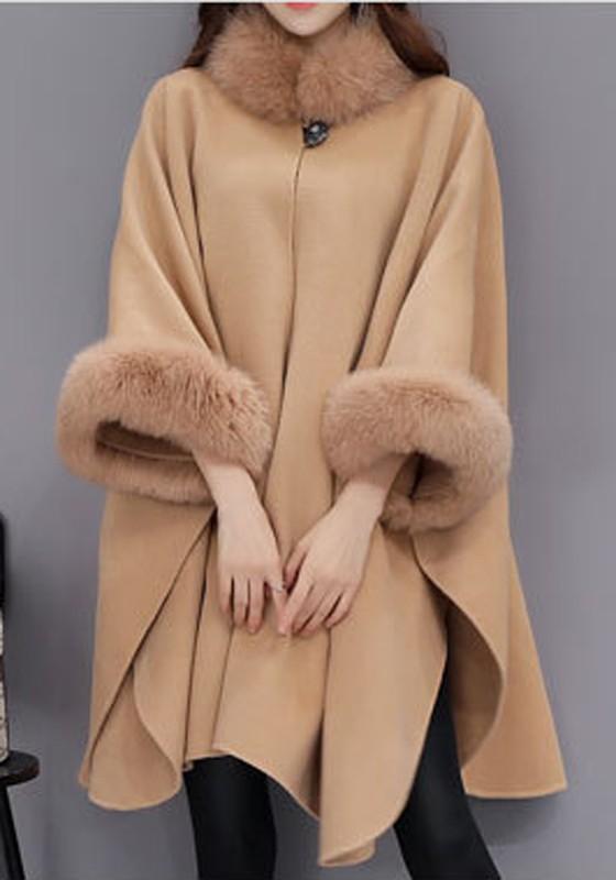 Khaki Pelzkragen 34 Ärmel Oversize Warme Wollmantel Elegantes Poncho Cape Damen Mode