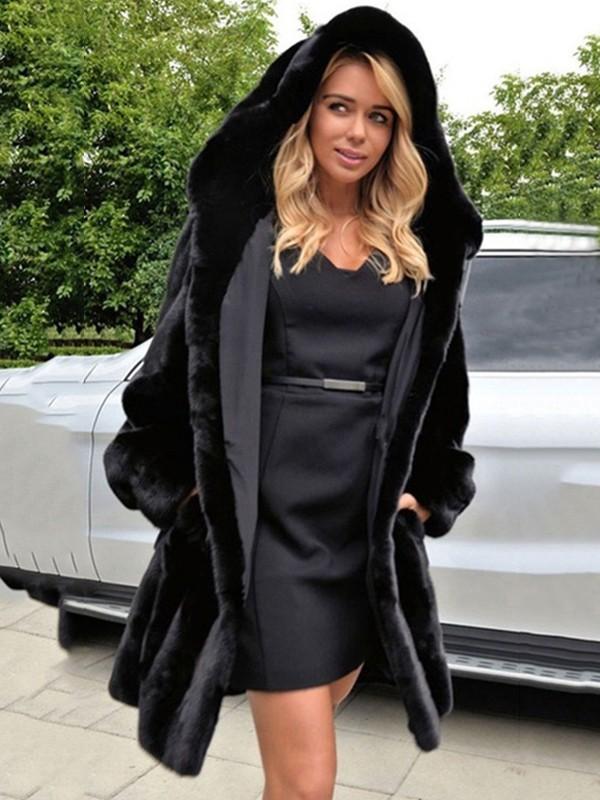 artisanat exquis fournir un grand choix de dernières conceptions diversifiées Manteau mi-longue polaire fourrure à capuche poches manches longues hiver  mode femme noir