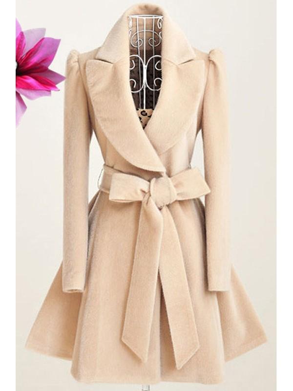 0bfd0e94399c Manteau en laine patineuse avec noeud papillon ceinture élégant blanc cassé  femme