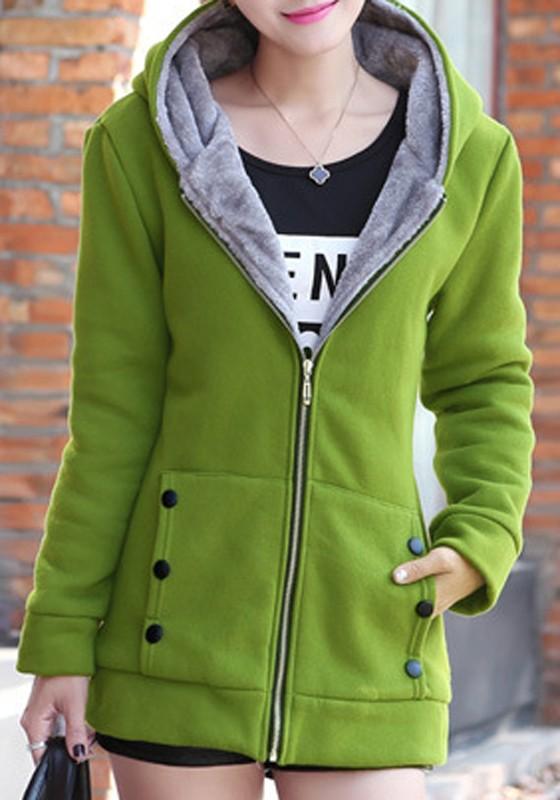 43f1e91257ce5b Grün Taschen Reißverschluss Langarm Dicke Cardigan Winter Mantel Mit Kapuze  Sweatjacke Mit Teddyfutter Damen