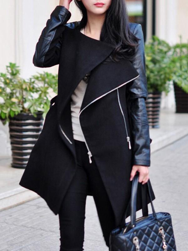 Schwarze mit PU Lederärmeln Unregelmäßiger Reißverschluss Umlegekragen Mode  Warmer Wintermantel Damen 531463cf84