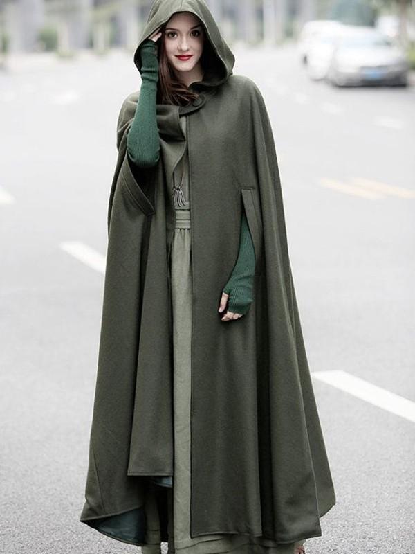 army green irregular hooded cloak drop shoulder loose long cape wool